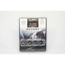 Тройник прикуривателя, USB выход, WF-0120 (провод)