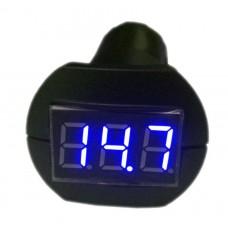Индикатор напряжения 12/24 В в гнездо прикуривателя синий